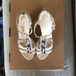 Nine West. Wedding Heels. Cream. Rhinestone. 8M.